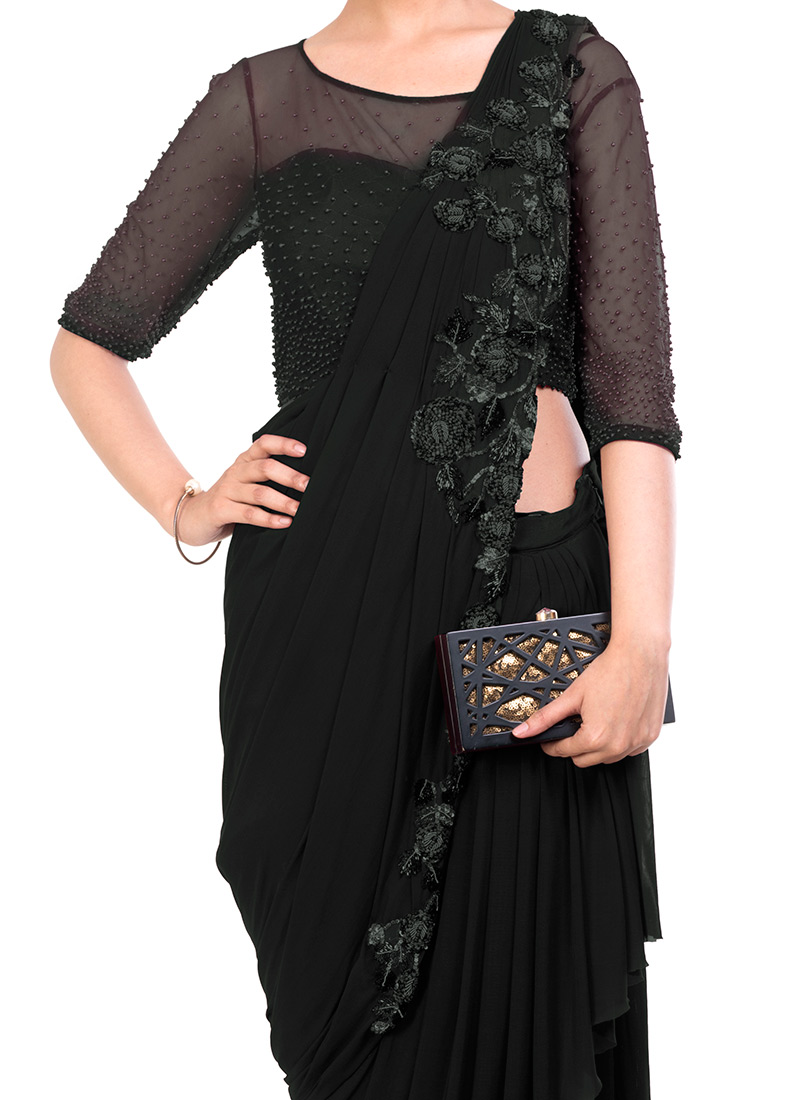 4e5b20157b Buy Black Embroidered Saree Gown, Sequins , Embroidered, dresses and ...