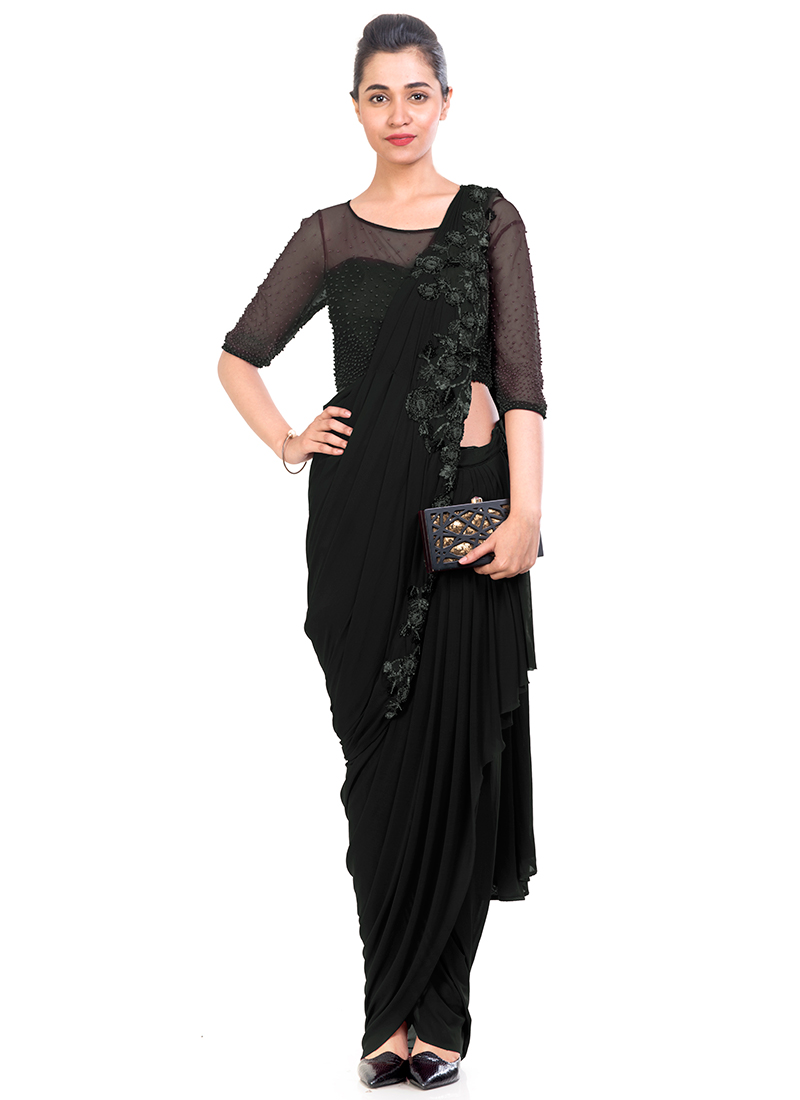 42b9bbbb9e Buy Black Embroidered Saree Gown, Sequins , Embroidered, dresses ...