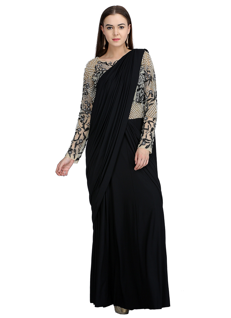 dd5162a893 Buy Black Embroidered Saree Gown, Beads , Embroidered, dresses ...