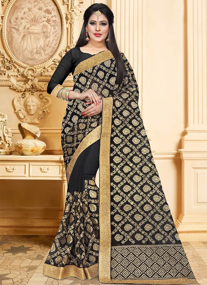 0e115962a3 Buy Black Embroidered Saree, Zari , Embroidered, sari Online ...
