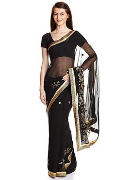 Black Floral Chiffon Saree
