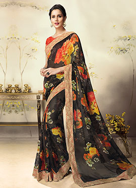 Black Floral Georgette Saree