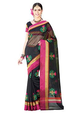 Black Floral Pattern Supernet Embroidered Saree