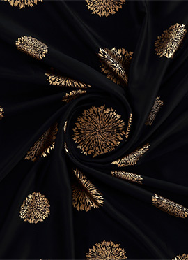 Black Foil Printed Heavy Pure Satin Fabric