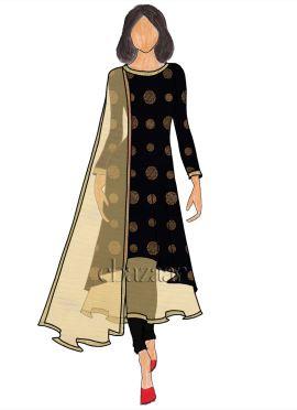 Black Foil Printed Pure Satin Layered Anarkali Suit