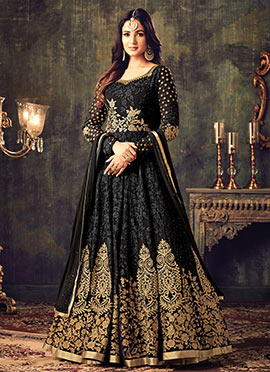 Black Georgette Abaya Style Anarkai Suit