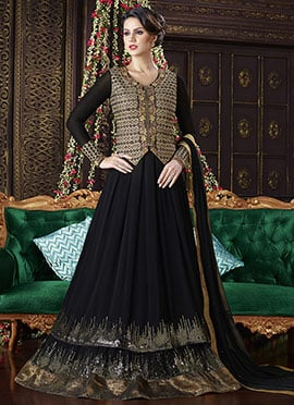 Black Georgette Abaya Style Anarkali Suit
