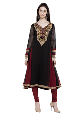 Black Georgette Anarkali Kurti