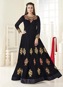 Dia Mirza Black Georgette Anarkali Suit