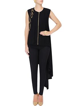 Black Georgette Asymmetric Tunics