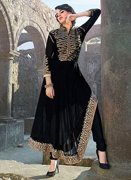 Black Georgette Asymmetrical Anarkali Suit