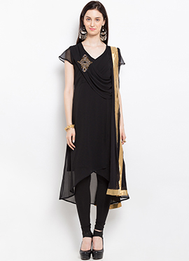 Black Georgette Asymmetrical Churidar Suit