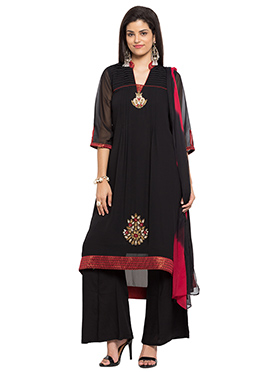 Black Georgette Asymmetrical Kurti