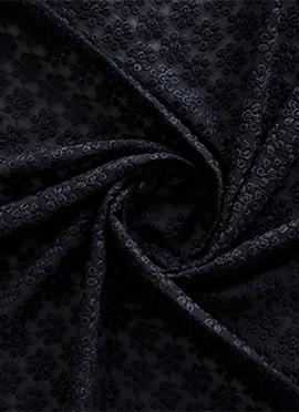 Black Georgette Chikankari Fabric