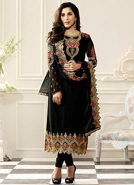 Sophie Choudhry Black Georgette Churidar Suit
