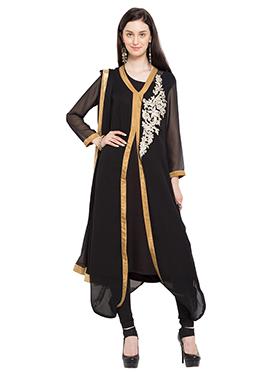 Black Georgette Churidhar Suit