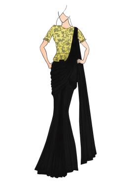 Black Georgette Drape Saree with Gold Embroidered Blouse