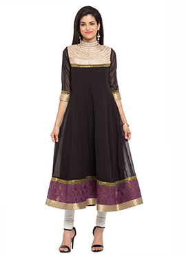 Black Georgette Embroidered Anarkali Kurti