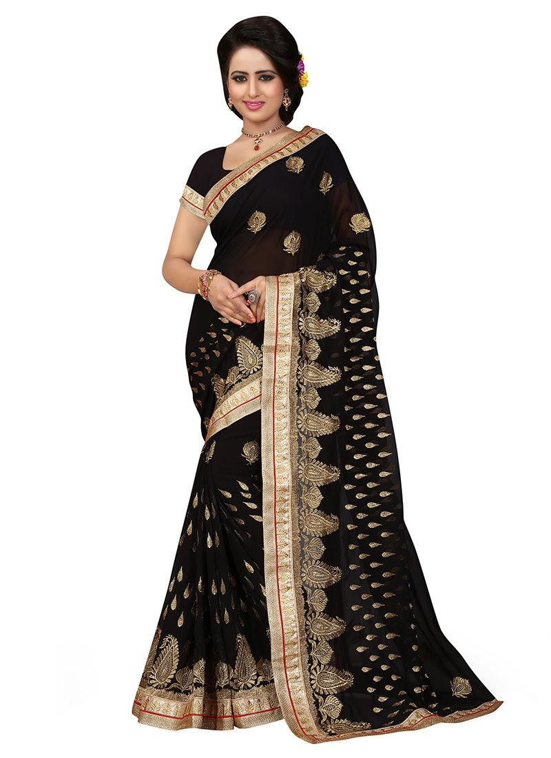 c974415877 Buy Black Georgette Embroidered Saree, Embroidered, sari Online ...