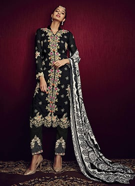 Black Georgette Embroidered Straight Pant Suit
