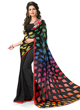 Black Georgette Geometric Designed Half N Half Saree