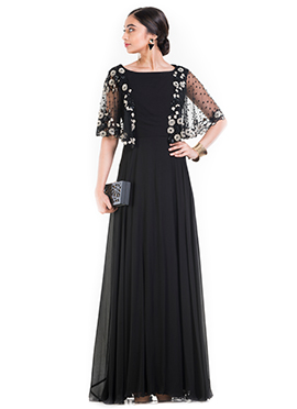 Black Georgette Half Cape Dress