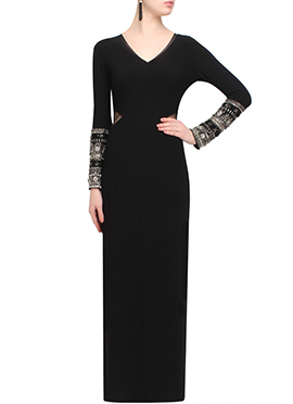Black Georgette Indowestern Maxi Dress
