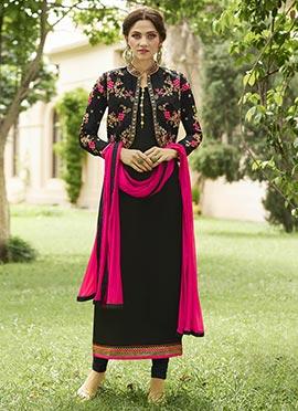 Black Georgette Jacket Style Straight Suit