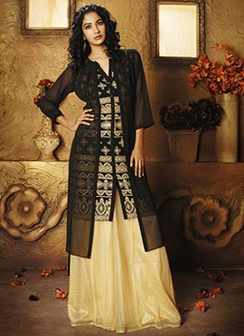 Black Georgette Jacket Style Tunic