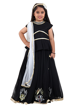 Black Georgette Kids Lehenga
