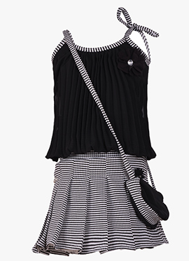 Black Georgette Kids Shirt Set