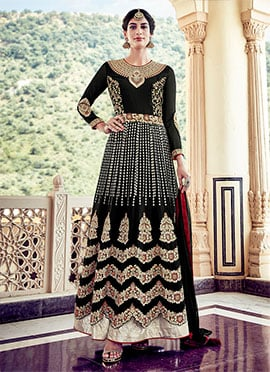 Black Georgette Layer Anarkali Suit