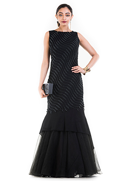 Black Georgette Mermaid Gown