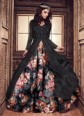 Black Georgette N Net Anarkali Lehenga