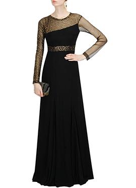 Black Georgette N Net Gown