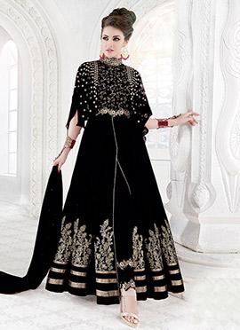 Black Georgette Net Anarkali Suit