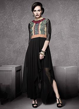 Black Georgette Net Tunic