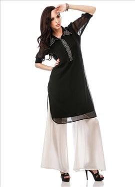 Black Georgette Plus Size Tunic