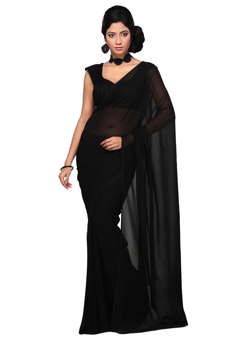 Buy Black Georgette Saree Sari Online Shopping Sadsf2219