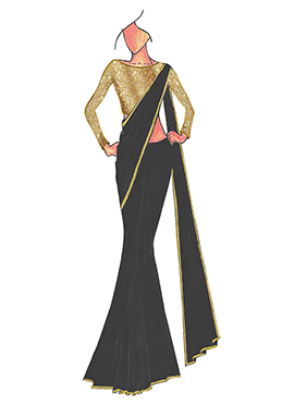 Black Georgette Saree With Gold Beige Blouse