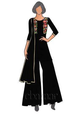 Black Georgette Sharara Suit