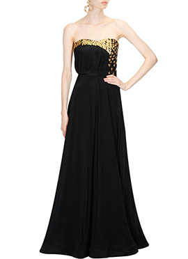 Black Georgette Shoulder less Gown