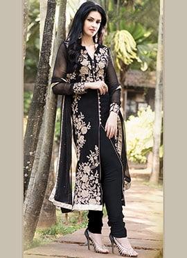 Black Georgette Straight Suit