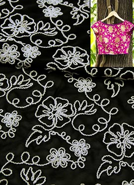Black Georgette With White Embroidery Blouse Material
