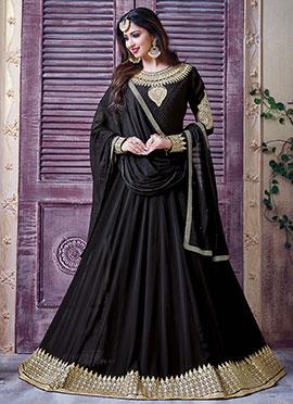 Black Gerogette Anarkali Suit