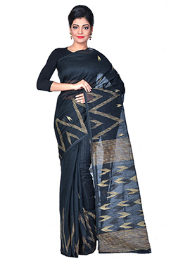 Black Handloom Cotton Silk Ghicha Pallu Saree
