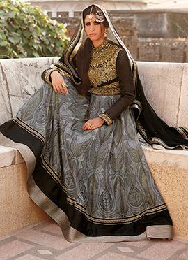 Grey Heavy Embellished Anarkali Suit