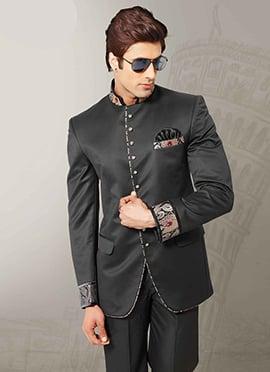 Black Imported Fabric Bandhgala Suit