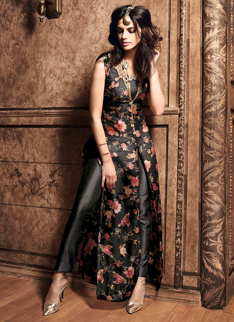 buy black jacket style straight pant suit embroidered