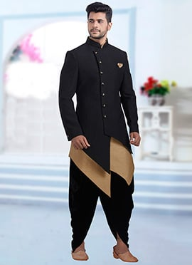 Black Jacquard Indowestern Sherwani